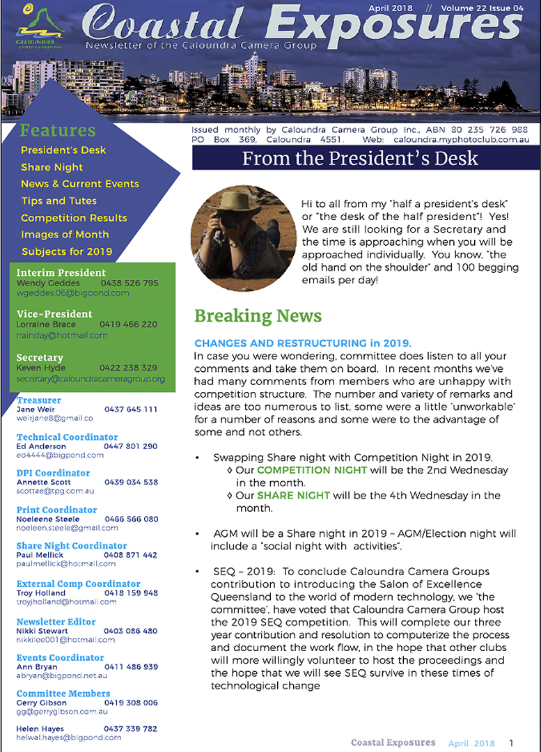 April 2018 Newsletter Cover Image